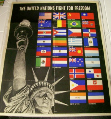 1942 World War II United Nations Poster--Statue Of Liberty/Flags