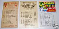 Wallace Bros Parker/Watts Cole/Walters Circus Route Card Lot