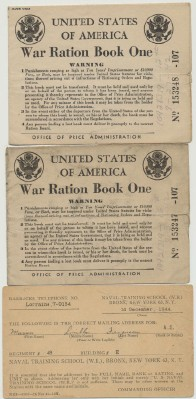 1942 World War II Ration Books + 1944 Naval Training School Card