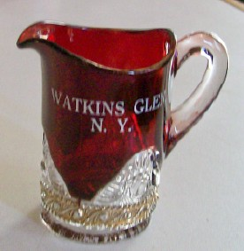 Watkins Glen NY Ruby Flash Glass Pitcher Colorado W/Gold Flash