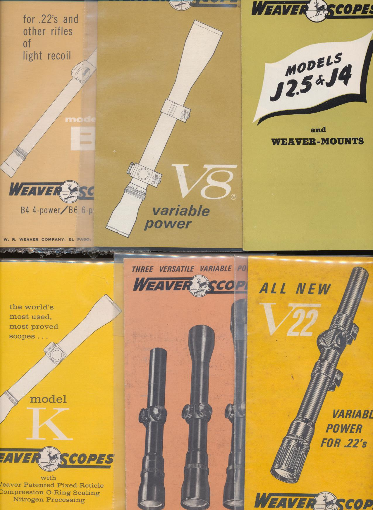 Lot Of 1960s Weaver Rifle Scope & Mounts Advertising Brochures