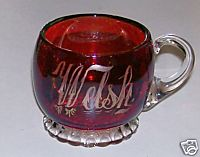 Vintage Ruby Flash Glass Pedestal Coffee Cup - Welsh