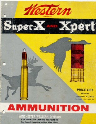 1956 Winchester Western Super X & Xpert Ammo Price List