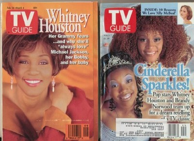 2 Different Vintage TV Guide Covers With Whitney Houston