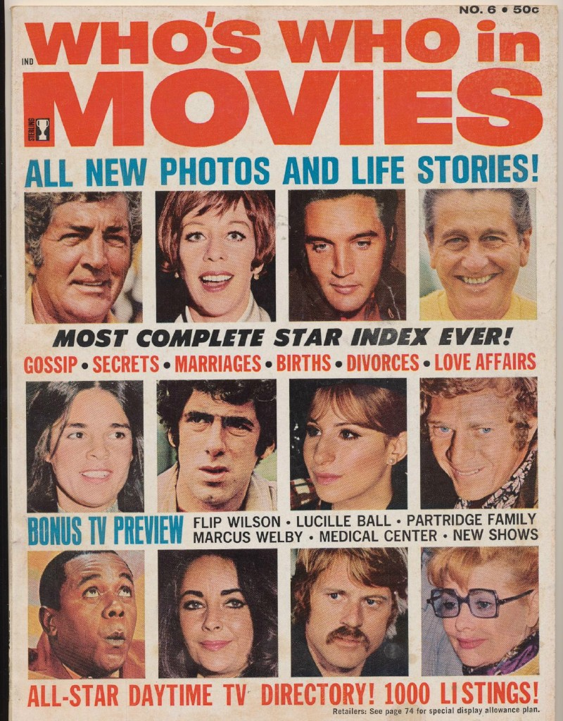 1971 Who's Who In Movies #6 - Elvis Liz Barbra Flip ++