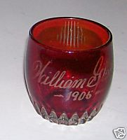 Ruby Flash Glass Toothpick Holder - 1906 William Glatzer