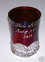 1911 Willis Grove Souvenir Ruby Flash Glass Tumbler