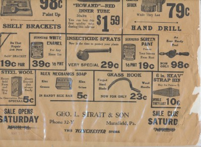 1927 Winchester Store Spring Sale Advertising Flyer